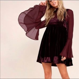Free People | Counting Stars Velvet Mini Dress L